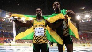 Nesta Carter ao lado de Usain Bolt