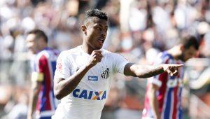 Bruno Henrique marca três e Santos vence o Bahia no Pacaembu