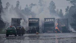Grupo queima 18 caminhões com alimentos no sul do Chile