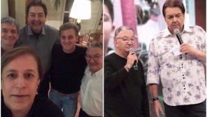 Faustão em jantar ao lado de Tom Cavalcante, Serginho Groisman, Caçulinha e Luciano Huck
