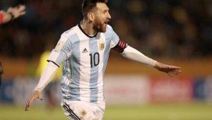 Lionel Messi marcou três gols e levou a Argentina à Copa