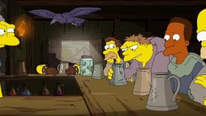 Cena do episódio de Os Simpsons inspirada no universo de Game of Thrones