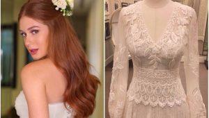 Marina Ruy Barbosa com o vestido da festa de casamento e o modelo da cerimônia religiosa