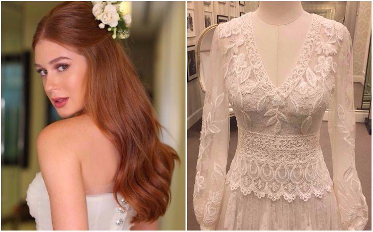 Marina Ruy Barbosa com o vestido da festa de casamento (esq.) e o modelo da cerimônia religiosa