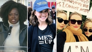 """Artistas protestam contra o assédio na """"Marcha das Mulheres"""""""